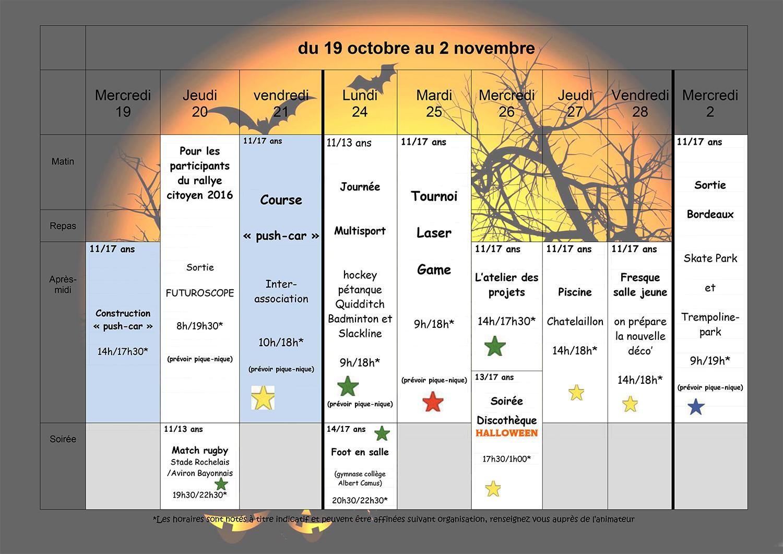 Planning Vacance Toussaint Pour La Jeunesse